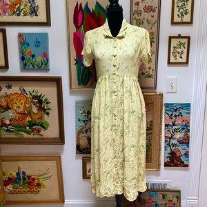 Vintage April Cornell Yellow Green Cottage Dress